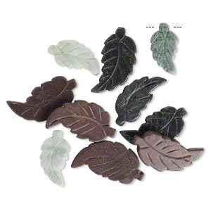 focal mix, multi-marble (natural), 35x18mm to 49x26mm carved leaf, c grade, mohs hardness 3. sold per pkg of 10.