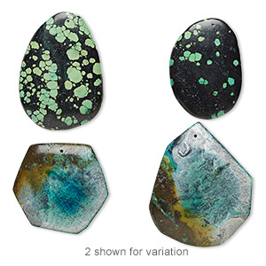 focal mix, turquoise (dyed / stabilized), 56x46mm-90x51mm top-drilled freeform, mohs hardness 5. sold per pkg of 2.