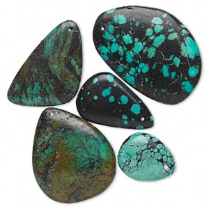 focal mix, turquoise (dyed / stabilized), blue, 23x15mm to 3-1/4x2-3/4 inch top-drilled freeform, c grade. sold per pkg of 5.