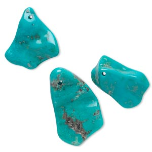 focal mix, turquoise (dyed / stabilized), blue-green, 15x10mm-35x23mm freeform, b+ grade, mohs hardness 5 to 6. sold per 3-piece set.