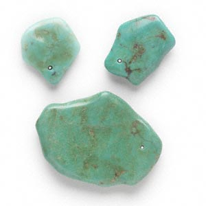 focal mix, turquoise (dyed / stabilized), green, 18x12mm-52x28mm freeform, mohs hardness 5 to 6. sold per 3-piece set.