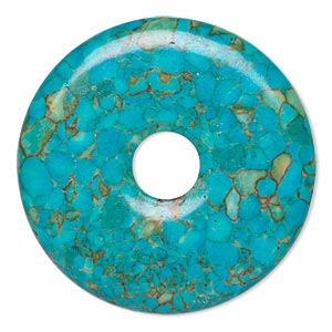 focal, mosaic turquoise (dyed / assembled), blue, 45mm round donut with 10mm hole, mohs hardness 3-1/2 to 4. sold per pkg of 2.