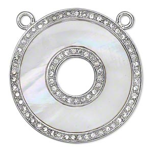 focal, mother-of-pearl shell and imitation rhodium-finished pewter (tin-based alloy) with czech crystals, clear and white, 39mm single-sided flat donut with 2 top loops. sold individually.