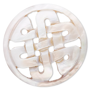 focal, mother-of-pearl shell (natural), 50mm round with celtic knot, mohs hardness 3-1/2. sold individually.