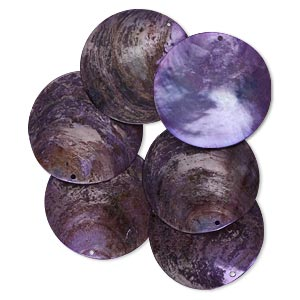 focal, mussel shell (dyed / coated), light purple, 40mm flat round. sold per pkg of 6.
