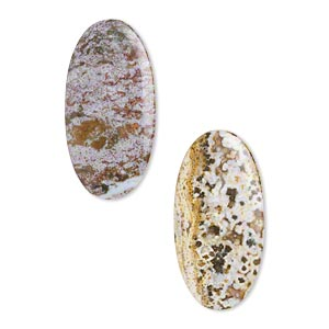 focal, ocean jasper (natural), 52x26mm flat oval, b- grade, mohs hardness 6-1/2 to 7. sold per pkg of 2.