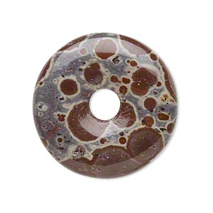 focal, orbicular jasper (natural), 30mm hand-cut round donut, b grade, mohs hardness 6-1/2 to 7. sold individually.