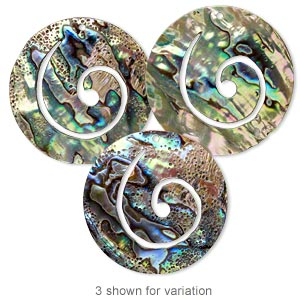 focal, paua shell (natural), 50mm top-drilled spiral, mohs hardness 3-1/2. sold individually.