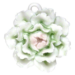 focal, porcelain, green / pink / opaque white, 38x38mm-43x43mm single-sided carnation with partially hidden loop. sold individually.