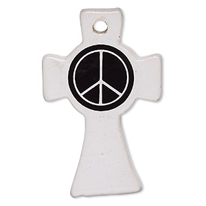 focal, porcelain, white and black, 54x35mm celtic cross with peace sign. sold individually.