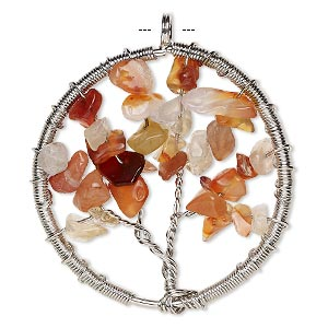 focal, red agate (dyed / heated) and silver-plated brass, 55x52mm round with wire-wrapped tree design. sold individually.