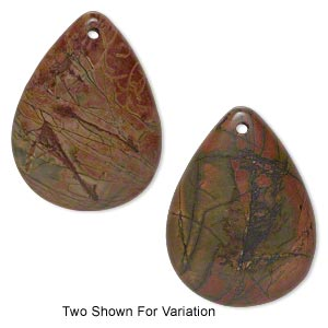 focal, red creek jasper (stabilized), 48x36mm top-drilled teardrop with flat back, b grade, mohs hardness 6-1/2 to 7. sold individually.