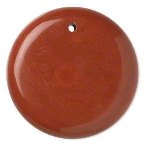focal, red jasper (natural), 40mm hand-cut top-drilled round with flat back, b grade, mohs hardness 6-1/2 to 7. sold individually.
