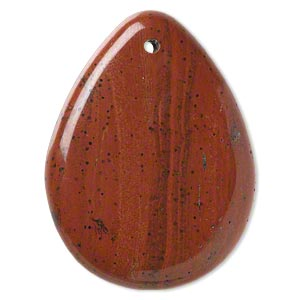 focal, red jasper (natural), 50x37mm hand-cut top-drilled teardrop with flat back, b grade, mohs hardness 6-1/2 to 7. sold individually.