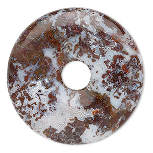 focal, red lightning agate (natural), 40mm round donut, b grade, mohs hardness 6-1/2 to 7. sold individually.