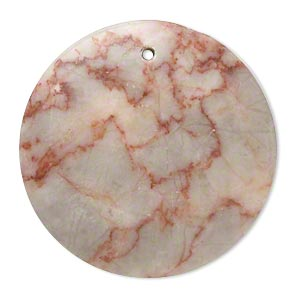 focal, redline marble (natural), 37-38mm puffed flat round with flat back, c grade, mohs hardness 3. sold individually.