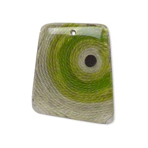 focal, resin and cotton, green / black / grey, 31x25mm single-sided trapezoid with bulls eye pattern. sold individually.