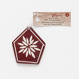 focal, resin, brown and white, 45x45mm-51x48mm carved pentagon with flower design. sold individually.