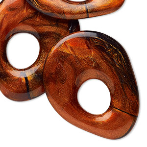 focal, resin, marbled pearlescent opaque dark orange and black, 55x43mm-56x44mm teardrop go-go. sold per pkg of 3.