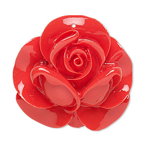 focal, resin, red, 35x34mm rose. sold individually.