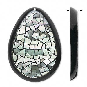 focal, resin with black lip shell (natural / assembled), black and silver, 37x27x4mm single-sided teardrop. sold per pkg of 2.