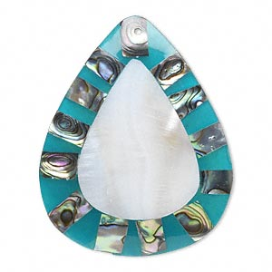 focal, shell (assembled) and resin, teal blue and white, 58x44mm single-sided teardrop. sold individually.