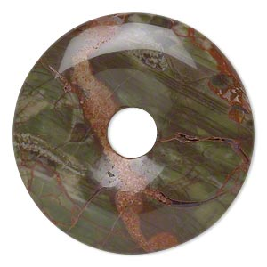 focal, sierra agate (natural), 40mm hand-cut round donut, b grade, mohs hardness 6-1/2 to 7. sold individually.