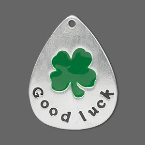 focal, silver-finished pewter (zinc-based alloy) and enamel, green and black, 34x27mm teardrop with single-sided good luck and 4-leaf clover, 2mm hole. sold per pkg of 2. minimum 4 per order.