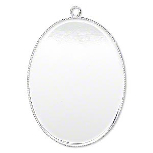 focal, silver-plated brass, 41x31mm oval with beaded edge and 40x30mm oval bezel cup setting. sold per pkg of 2.