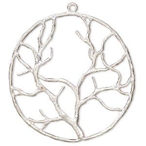 focal, silver-plated copper, 38mm single-sided open round tree of life. sold per pkg of 2.