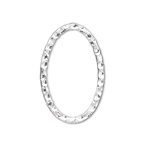 focal, silver-plated steel, 30x20mm double-sided hammered open oval. sold per pkg of 8.