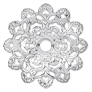 focal, silver-plated steel, 46x46mm single-sided wavy flower with 6mm center hole. sold per pkg of 6.