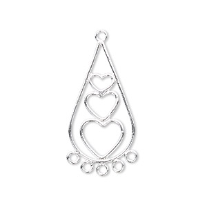 focal, sterling silver, 31x15mm teardrop with 3 hearts. sold per pkg of 2.