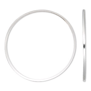 focal, sterling silver, 40mm round square wire. sold per pkg of 2.