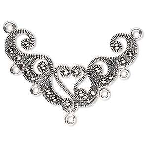 focal, sterling silver and marcasite, 38x24mm fancy shape, 2/5 loops. sold individually.