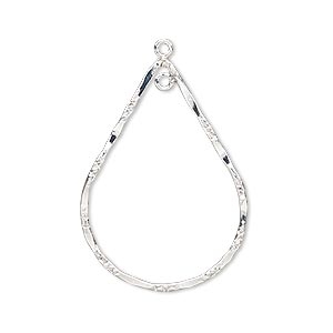 focal, sterling silver-filled, 32x23mm double-sided hammered and textured open teardrop with loop. sold individually.