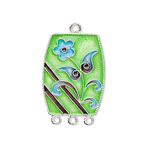 focal, sterling silver with cloisonne, green with blue flower, 30x18mm rectangle with 3-loops. sold individually.