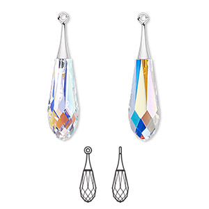 focal, swarovski crystals and rhodium-plated brass, crystal ab, 31.5mm faceted pure drop pendant (6532). sold per pkg of 20.