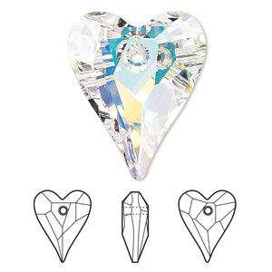 focal, swarovski crystals, crystal ab, 37x30mm faceted wild heart pendant (6240). sold per pkg of 6.