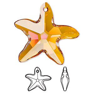 focal, swarovski crystals, crystal astral pink, 30x28mm faceted starfish pendant (6721). sold per pkg of 12.