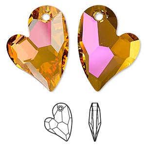 focal, swarovski crystals, crystal astral pink, 36x26mm faceted devoted 2 u heart pendant (6261). sold per pkg of 12.
