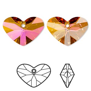 focal, swarovski crystals, crystal astral pink, 37x27mm faceted crazy 4 u heart pendant (6260). sold per pkg of 6.