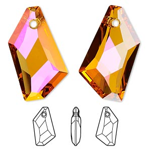 focal, swarovski crystals, crystal astral pink, 50x30mm faceted de-art pendant (6670). sold per pkg of 6.