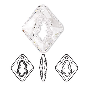 focal, swarovski crystals, crystal clear, 36mm faceted grow rhombus pendant (6926). sold per pkg of 8.