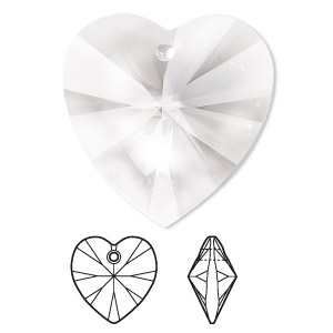 focal, swarovski crystals, crystal clear, 40x40mm xilion heart pendant (6228). sold per pkg of 6.