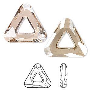 focal, swarovski crystals, crystal golden shadow, 30x30x30mm faceted cosmic triangle fancy stone (4737). sold individually.