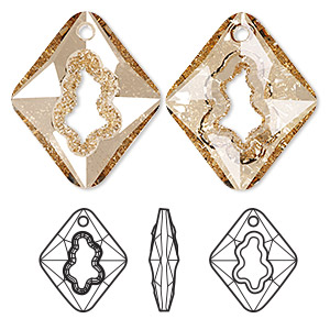 focal, swarovski crystals, crystal golden shadow, 36mm faceted grow rhombus pendant (6926). sold per pkg of 8.