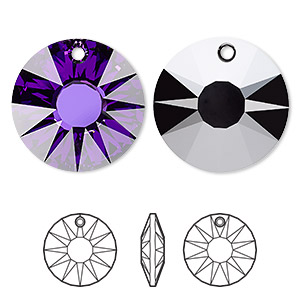 focal, swarovski crystals, crystal heliotrope p, 33mm faceted sun pendant (6724). sold per pkg of 6.