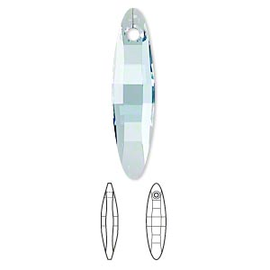 focal, swarovski crystals, crystal passions, aquamarine, 32x8mm faceted ellipse pendant (6470). sold per pkg of 6.