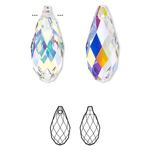 focal, swarovski crystals, crystal passions, crystal ab, 50x21.5mm faceted briolette pendant (6010). sold individually.